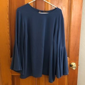 Blue Blouse with bell sleeves